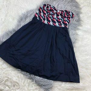 maeve navy geometric print strapless dress 6